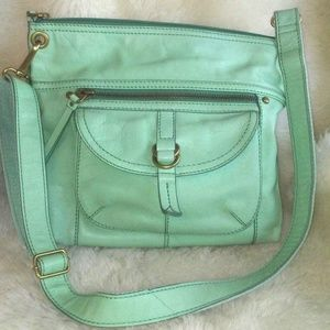 Fossil Vintage Green Messenger Leather Crossbody